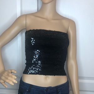 Ruby Sky Black Sequin Tub Top Size XS